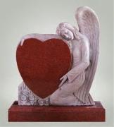 Сердце с ангелом из красного гранита