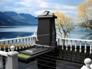Памятник из черного гранита с закрытой надгробной плитой